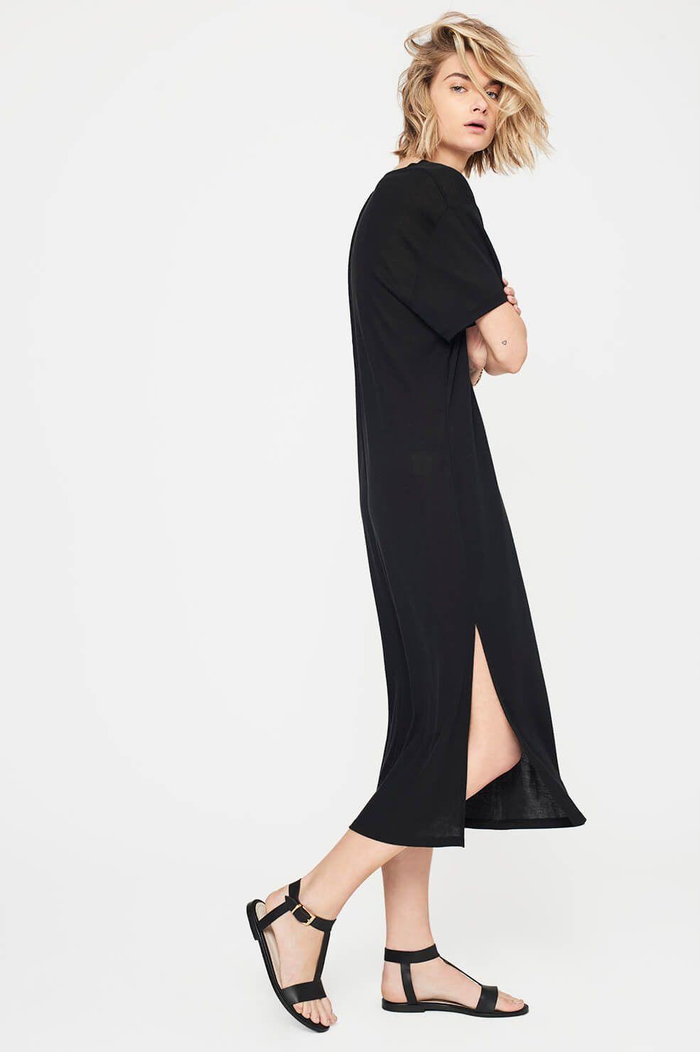 ANINE BING Deep V T-shirt Dress