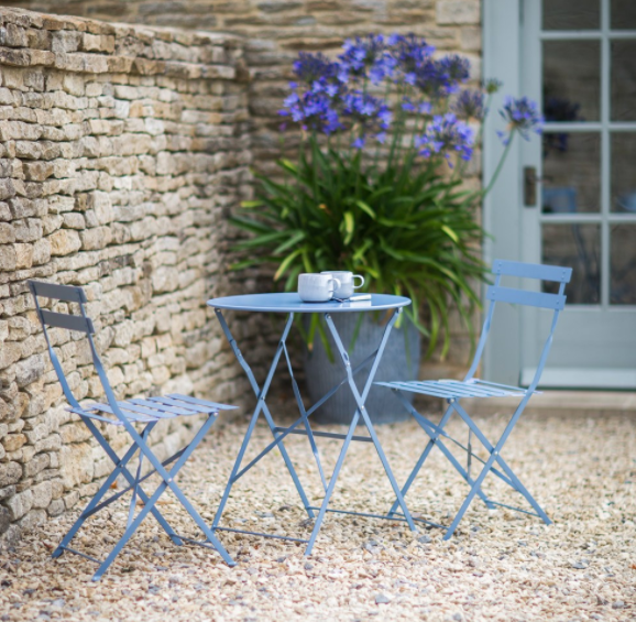Garden Trading Rive Droite Bistro Set Of Table U0026 2 Chairs Dorset Blue