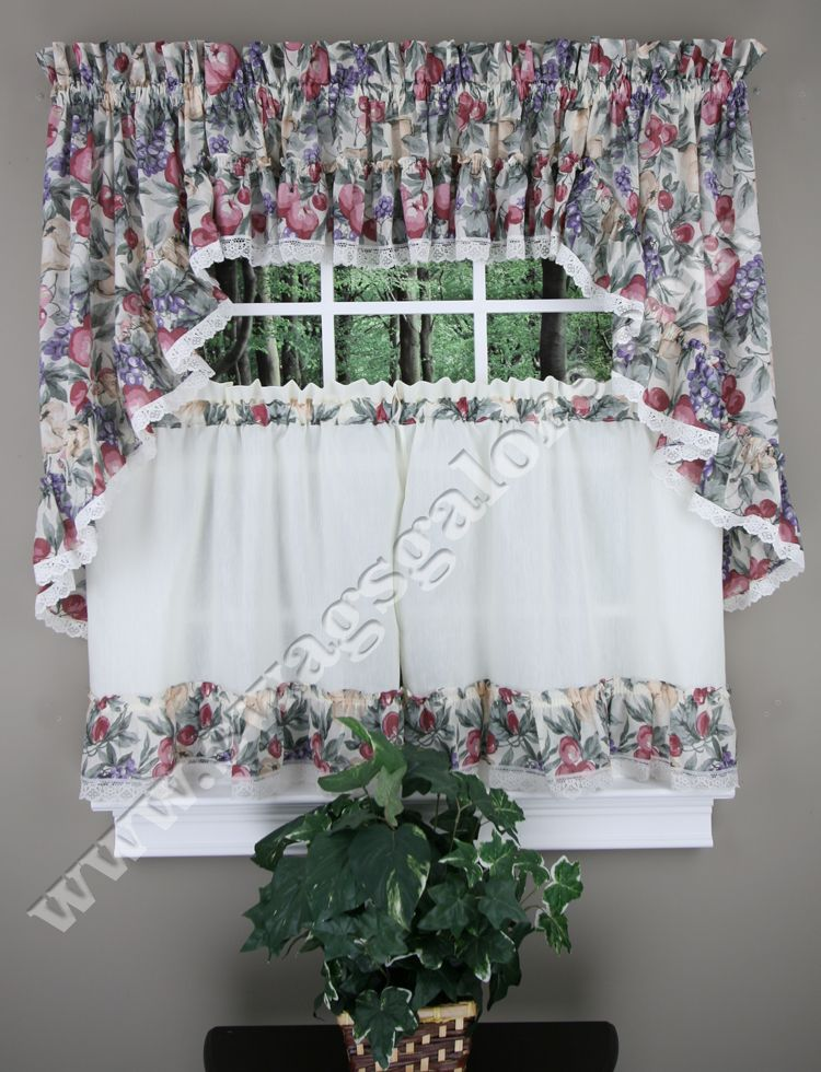fruit kitchen curtains shades harvest have a lovely multi color print swags valance tiers are accented with wonderful ivory lace border trim