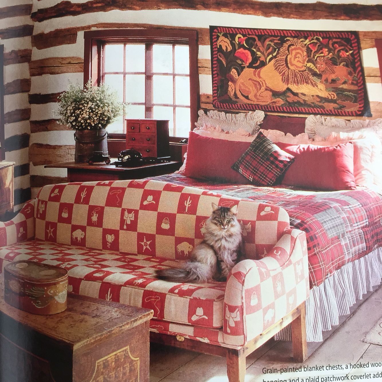Couch or bench at foot of bed Home decor, Rustic home