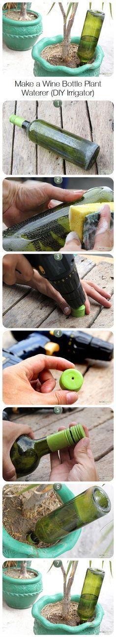 How to Make Wine Bottle Plant Waterer #gartenrecycling