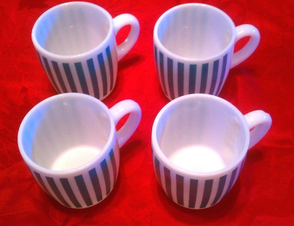 (4) Hazel Atlas Coffee Cups Turquoise Candy Stripe Perfect Condition