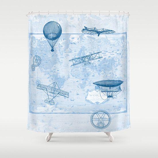 Airplane Shower Curtain History Of Flight Home Decor Bathroom Maps Blue Boys Vintage Map Mercator Hor Air Bathroom Decor Curtains Shower Curtain