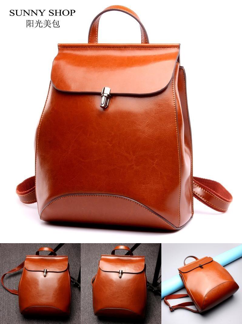 Visit To Buy Sunny Shop Japan And Korean Style Genuine Leather Women Backpack Vintage School Backpack For Leather Backpack Vintage Backpacks Womens Backpack