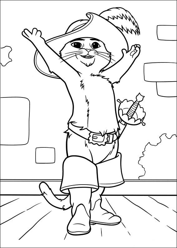Den bestøvlede kat Tegninger til Farvelægning. Printbare Farvelægning for børn. Tegninger til udskriv og farve nº 20