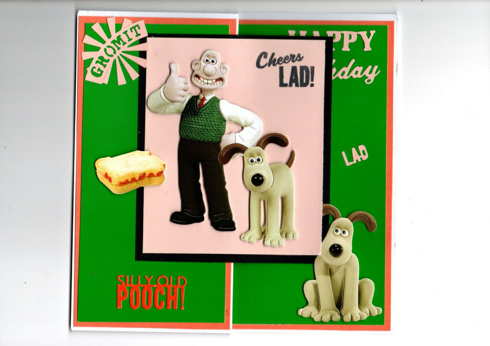 hand made birthday card, wallace and gromit ty for looking can add mum dad etc #mumsetc