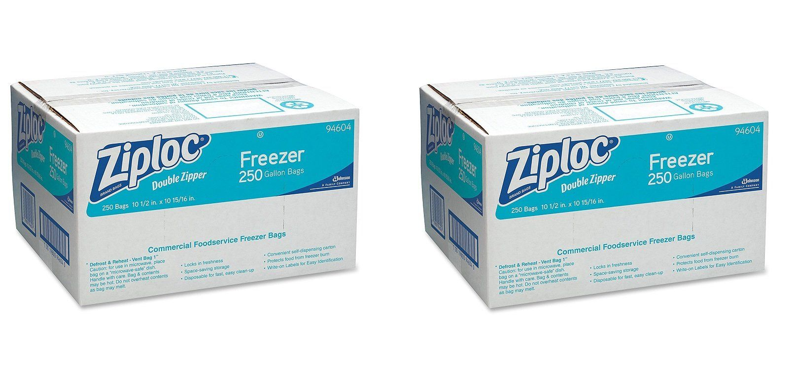 Ziploc 94604 Double-Zipper Freezer Bags, 1gal, 2.7mil, Clear w/Label ...