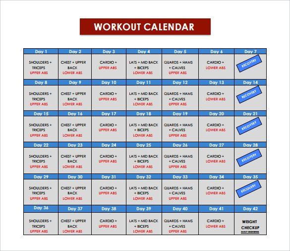 Exercise Calendar Template Pdf 2018 Calendar Templates Pinterest