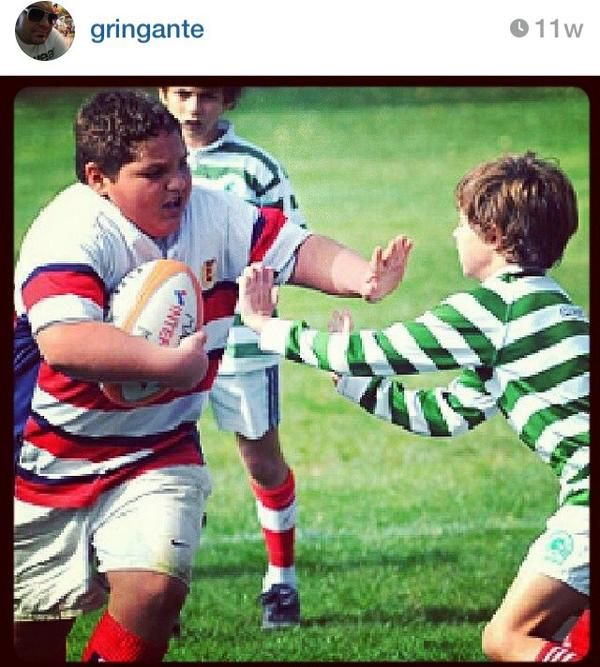 Rugby Forward About To Meet A Back Even At A Youthful Age It Is No Contest It Always Takes More Than One Back To Tack Rugby Kids Rugby Memes Rugby Training