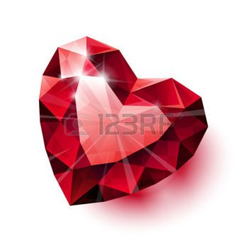heart diamond: Shiny isolated red ruby heart shape with shadow on white background.