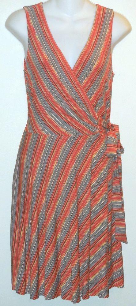 9a81fd3c9ba BAILEY 44 Dress sz m Stripe Jersey Wrap Bodice Terracotta Orange/Multi  Casual #Bailey44 #WrapDress #Casual