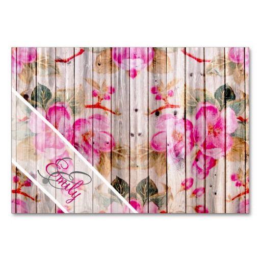 Retro Monogram Pink Floral Pattern Vintage Wood Table Cards