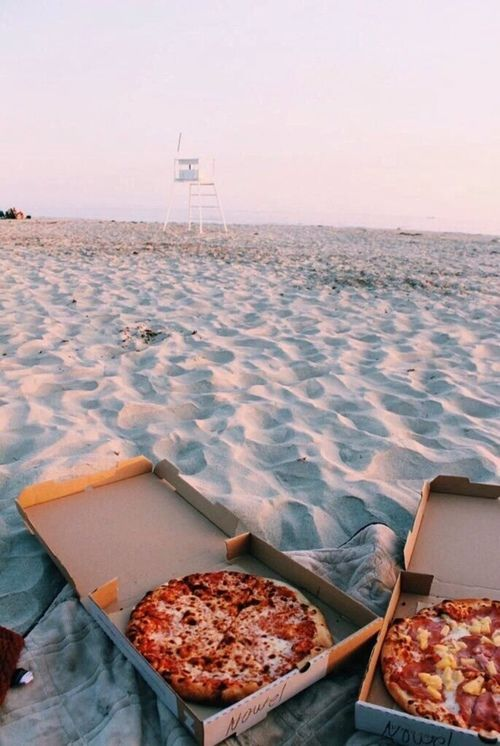 Imagen de pizza, beach, and food