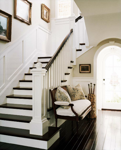 Love The Stairwell Design! Gorgeous Transitional Foyer Design With Glossy  Ebony Wood Floors, Staircase, Wainscoting, Vintage Gold Gilt Empty Frames  As Art, ...