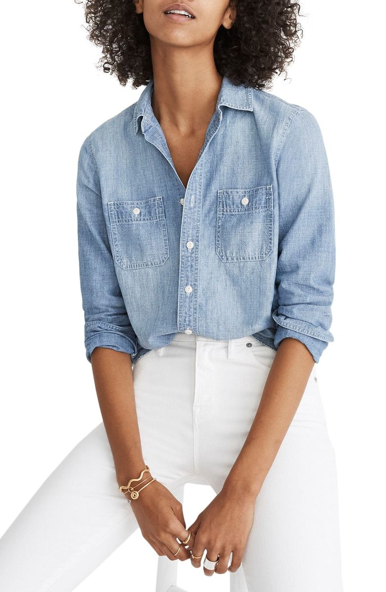 46f549ae58 Free shipping and returns on Madewell Classic Ex-Boyfriend Chambray Shirt  at Nordstrom.com. This is one ex-boyfriend worthy of taking back—it won t  hog the ...