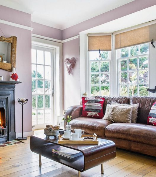 lilac gray living room paint inspiration silver corners on edges of walls - Living Room Paint Inspiration