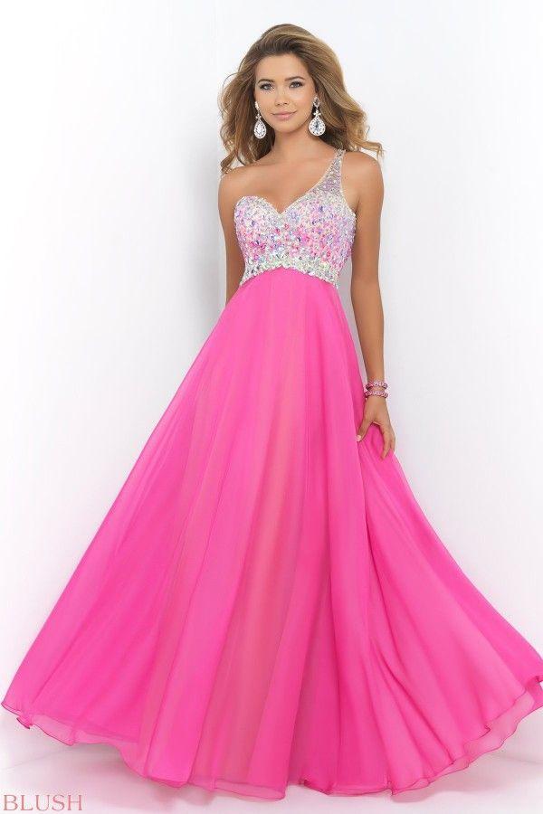 05813be864f Beautiful Beaded Sweetheart Hot Pink Chiffon Long Prom Dress