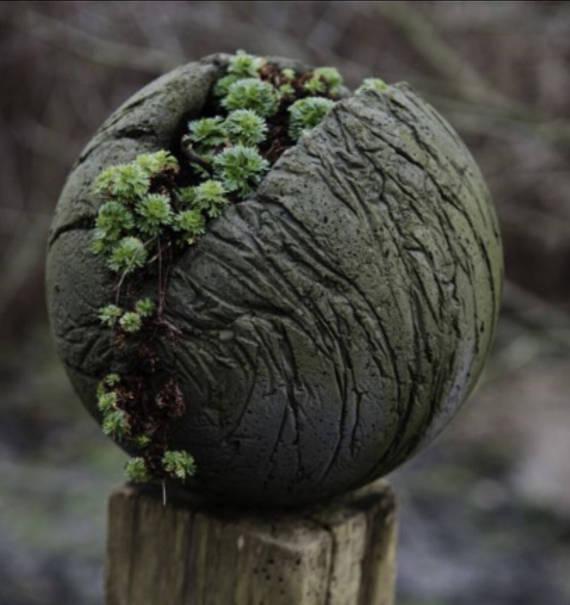 "Cement Garden Art: Large Decorative Cement Garden Sphere 22"""