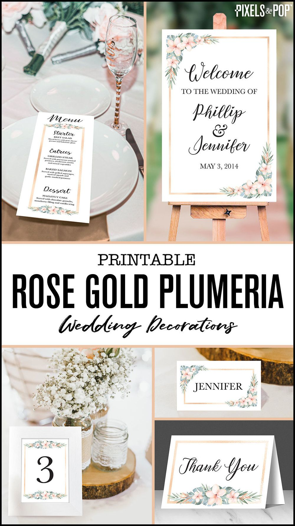 This Collection Of Printable Wedding Decorations Is Perfect For Celebrating Any Tropical Or Beac Printable Wedding Sign Rose Gold Party Theme Gold Bridal Party
