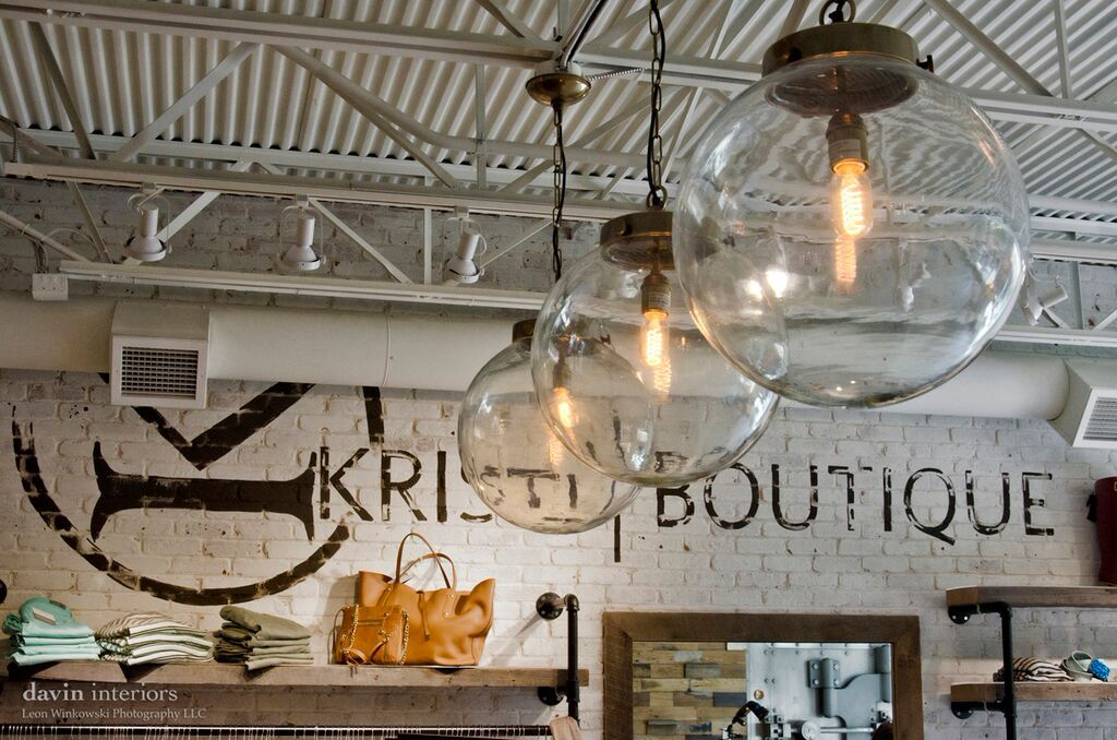 reclaimed industrial lighting. Pendant Light Industrial Lighting Clothing Store Womens Boutique Logo On Wall White Brick Pipe Parts Reclaimed