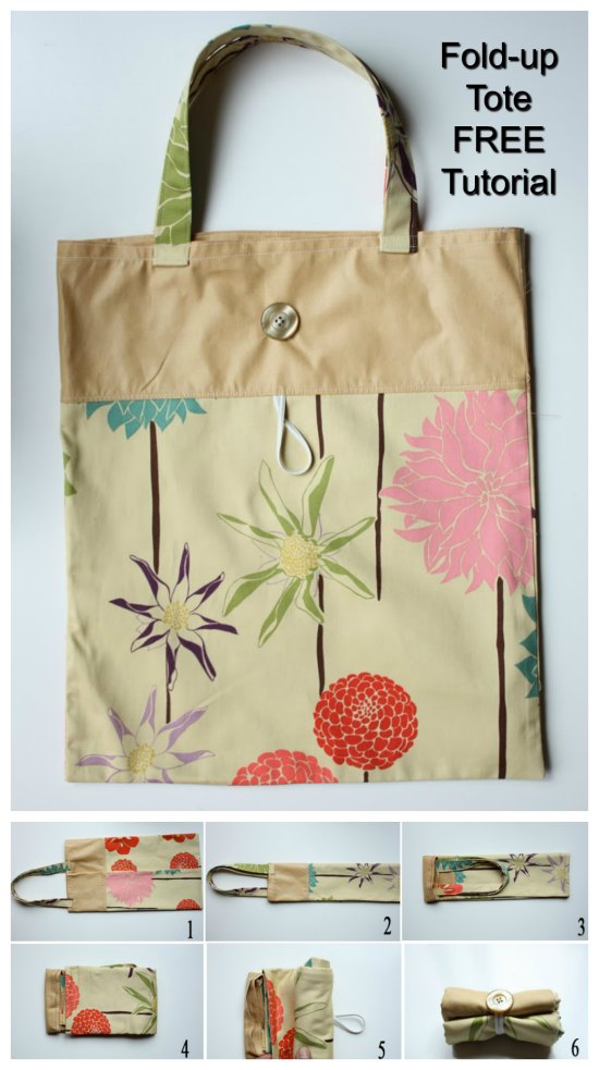 Fold Up Tote Bag Free Sewing Tutorial Sew Modern Bags Tote Tutorial Modern Bag Grocery Bag Pattern