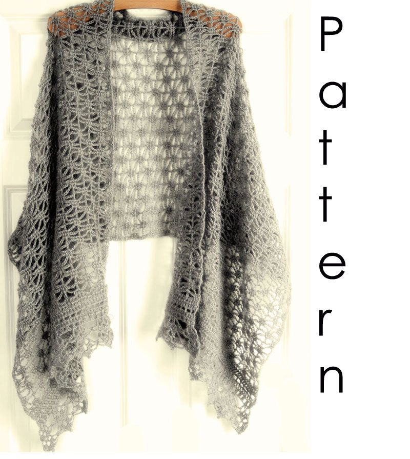 Crochet pattern Pdf- lacy crochet shawl.   knit and sewing diy and ...