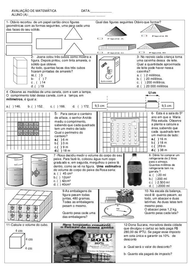 Avaliacao De Matematica Avaliacao De Matematica Atividades De
