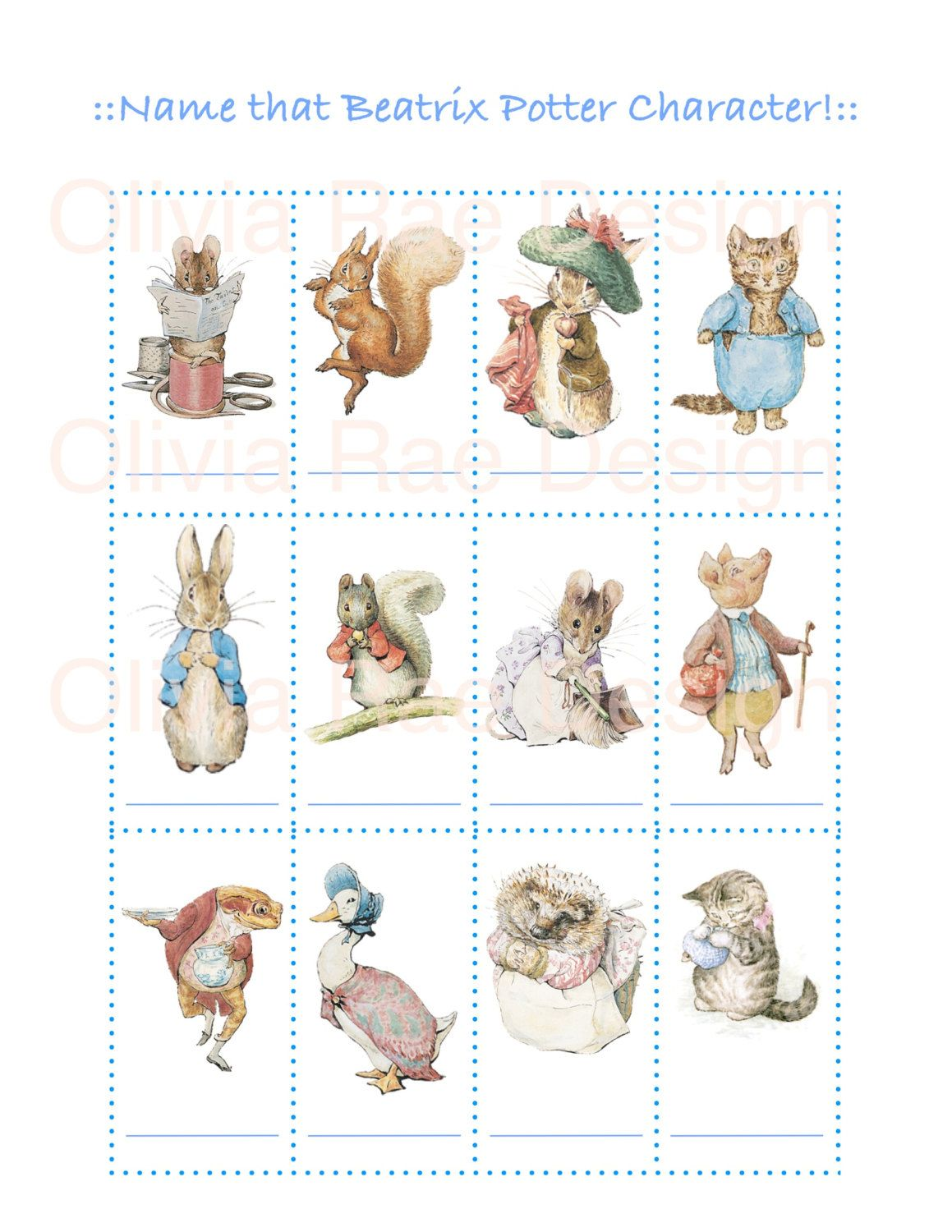 Peter Rabbit Baby Shower Game Name That Beatrix Potter Etsy Baby Shower Wishes Peter Rabbit Rabbit Baby Shower