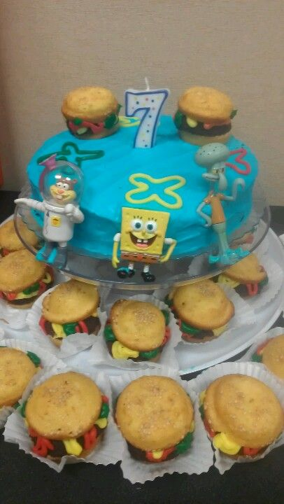 Spongebob Cake With Krabby Patty Cupcakes Buns Are Made With Yellow Cake Mix And Meat Is Just B Spongebob Birthday Cake Spongebob Cake Spongebob Birthday
