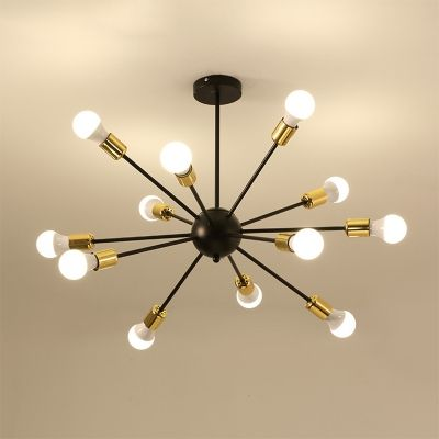 Industrial Vintage Semi Flush Mount With Black Finished Support Gold With Images Iron Ceiling Lights Ceiling Lights Metal Light Fixture