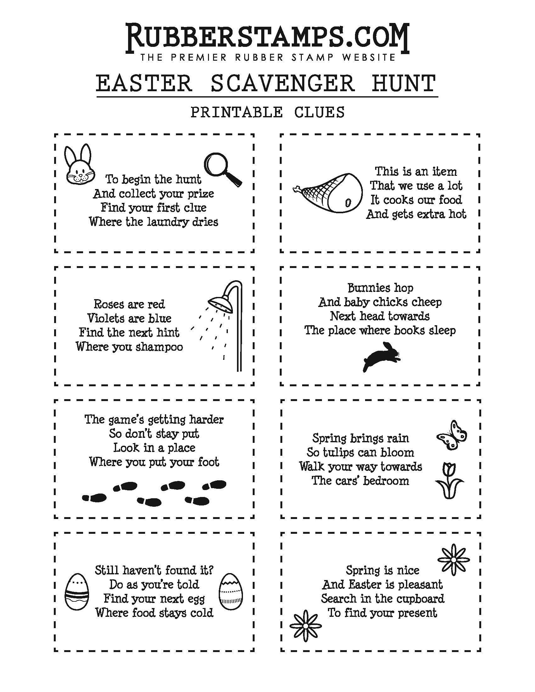 Diy Easter Scavenger Hunt Clues Free Printable