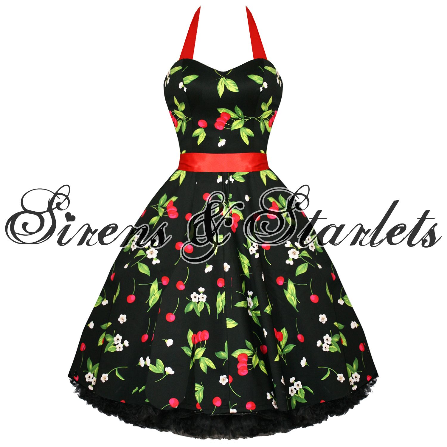 Ladies new black red cherry vtg s swing pinup party prom dress