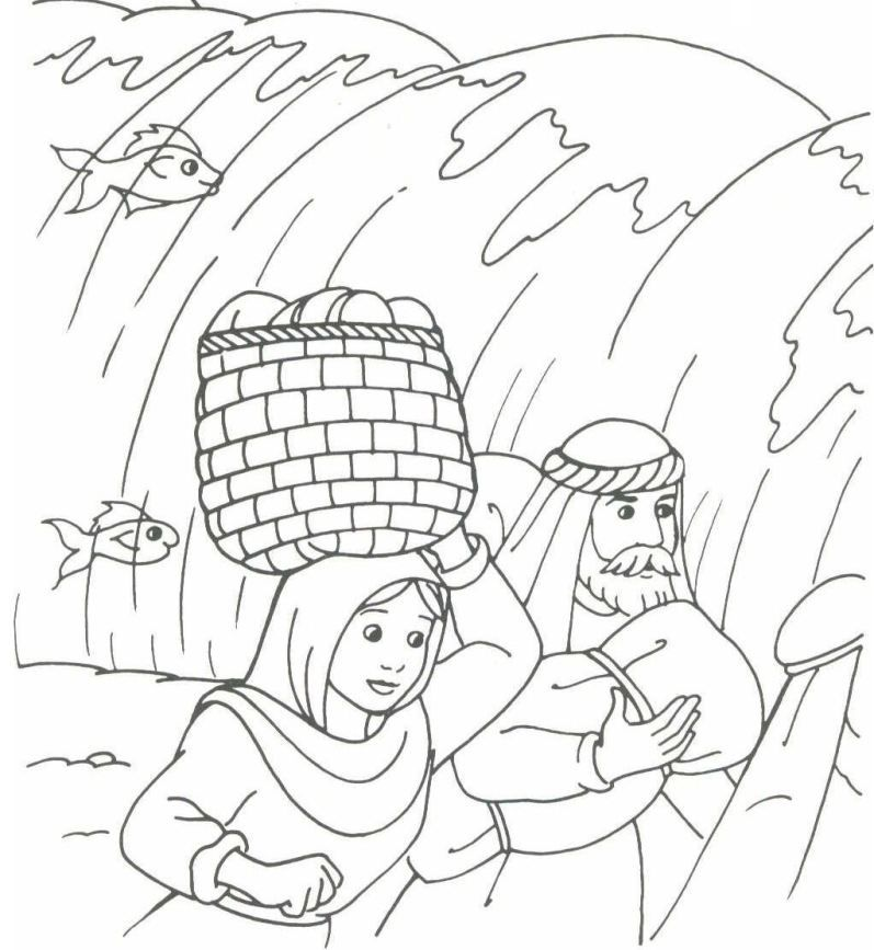 The Hebrews walking through the sea (Exodus 14) | Bible coloring ...