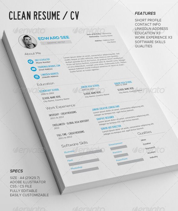 cv by leaflove a simple  clean resume template  strong typographic structure and very easy to