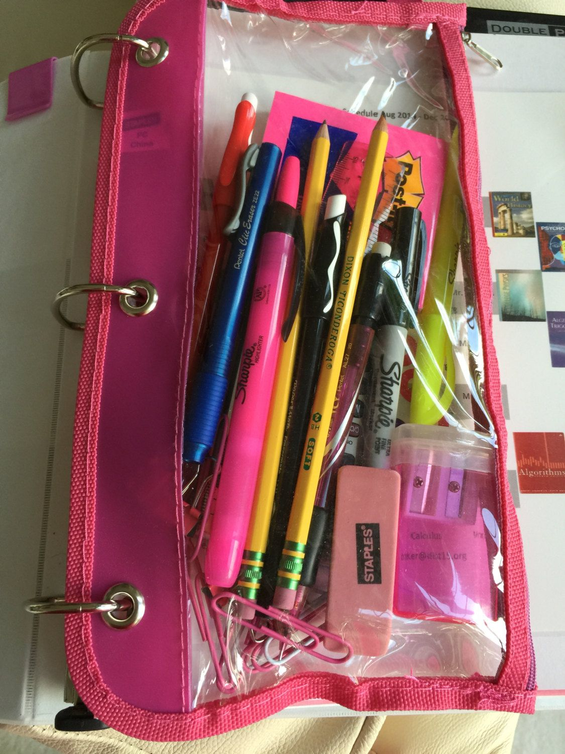 Plastic zippered pouch with essential school tools - basic pack by StayAheadOrganize on Etsy