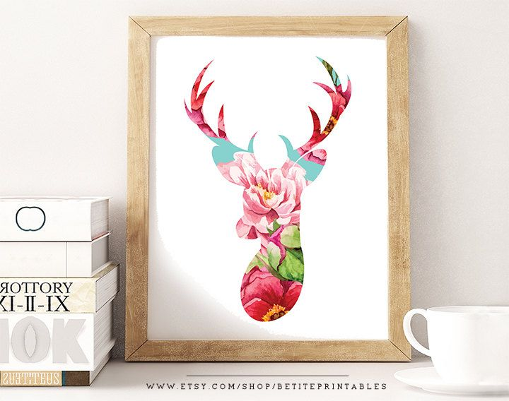 Chic Wall Art floral deer head print, 2 for 1, chic wall art, boho decor, floral
