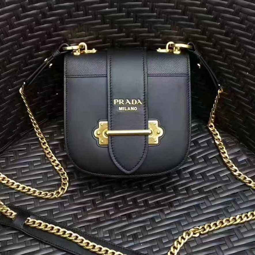 99843cac5340f3 Prada Saffiano & Smooth Leather Shoulder Bag 1BH056 Black 2017. Find this  Pin and more on Prada Bags on Sale 2017 Collection ...