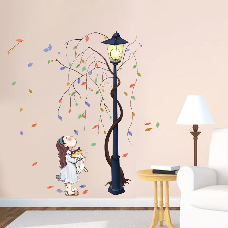 Little girl with cat looking up at the road lamp wall decals for kids room tree