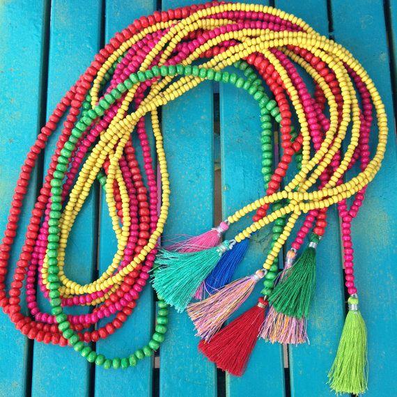 Mala Necklace Boho Tassel Yellow Beads por VivalaVirgen en Etsy