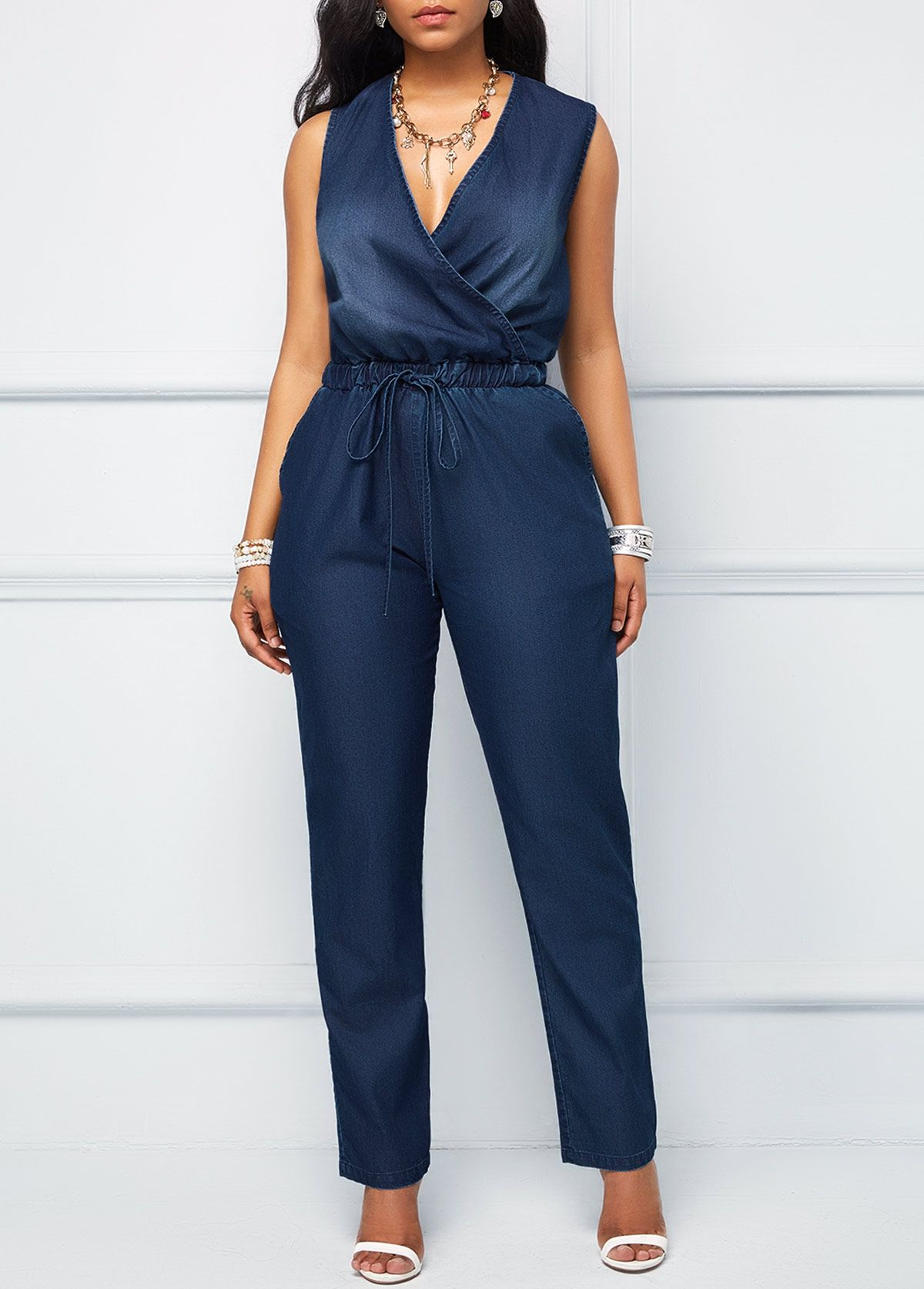 92ccbdbd8 V Neck Drawstring Waist Denim Blue Jumpsuit | Rotita.com - USD $36.63