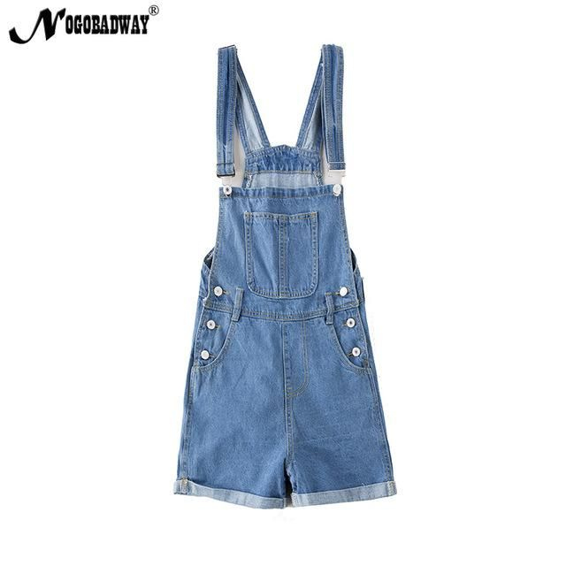 cff7aeb7a8 Short denim overalls women jumpsuit romper high waist casual fashion jeans  playsuit washed blue dungarees 2018