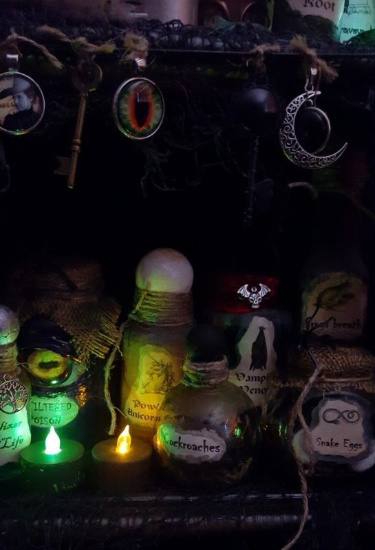 Witches Cabinet Apothecary Potion Bottles Halloween Decor Haunted - halloween decorations haunted house