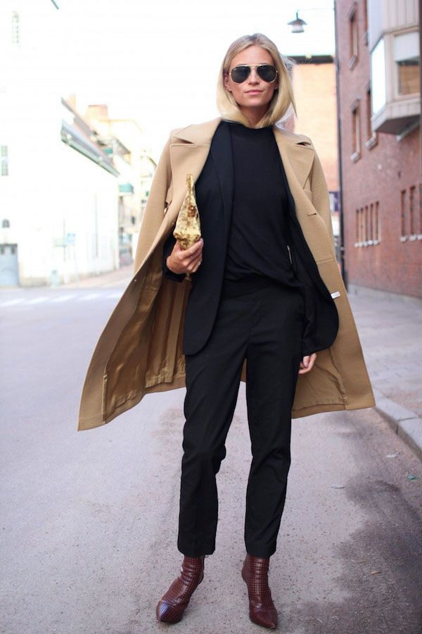 Le Fashion Blog Camel Coat Office Style Black On Black Look Suit Burgundy  Pointed Toe Boots