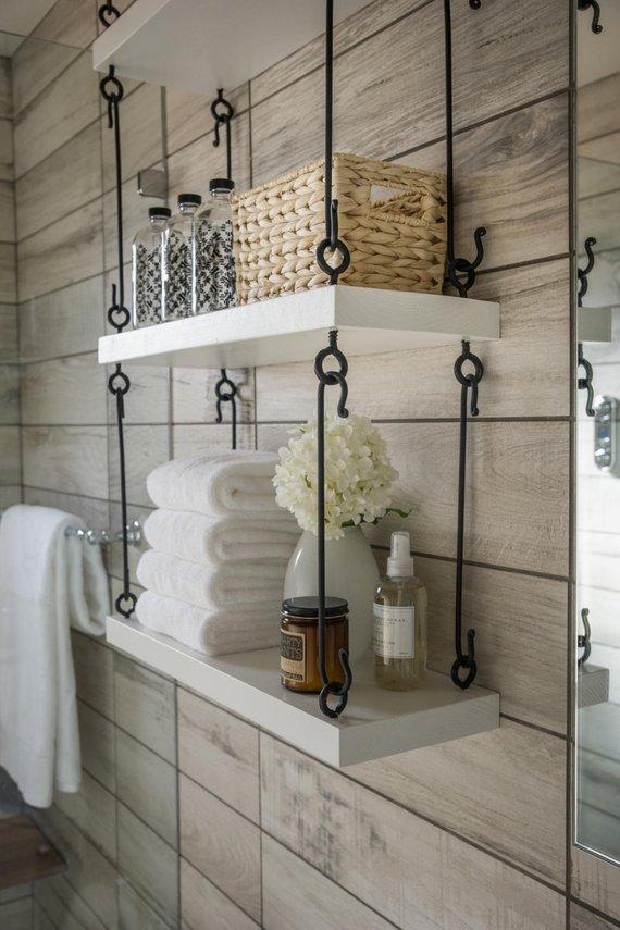 Metal Hanging Shelf Set- modern floating shelves, wood and metal shelves, Christmas gift ideas, modern kitchen ideas, modern bathroom