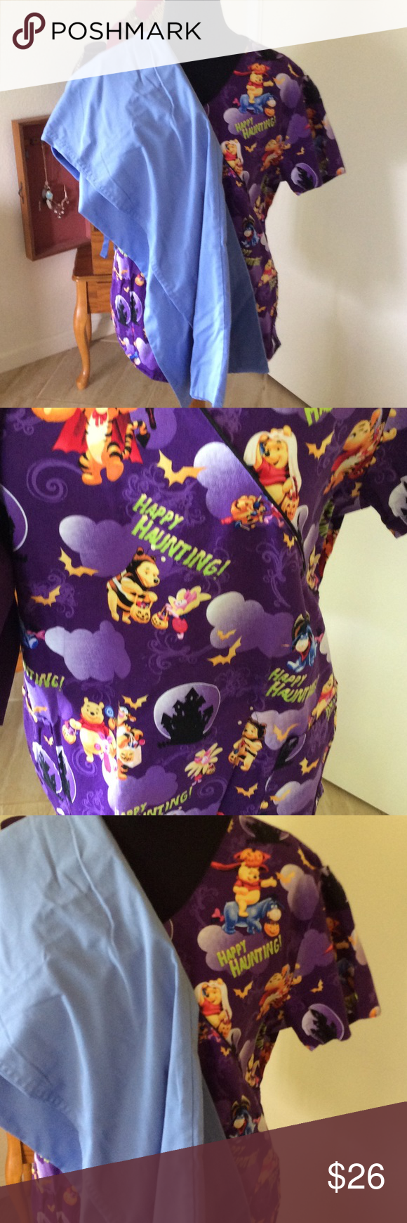 Scrubs Spooky Halloween Scrub top XL two front pockets with ...