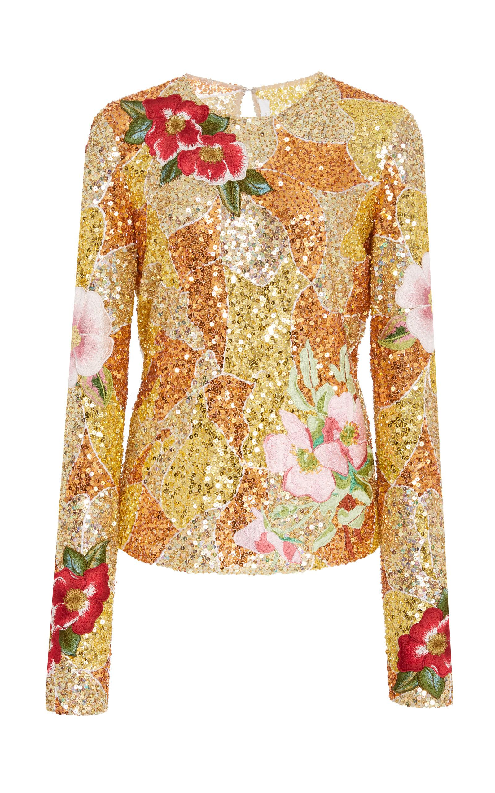 f8d3ed34af63a8 Embroidered Floral Sequin Top by NAEEM KHAN Now Available on Moda Operandi  Sequin Top