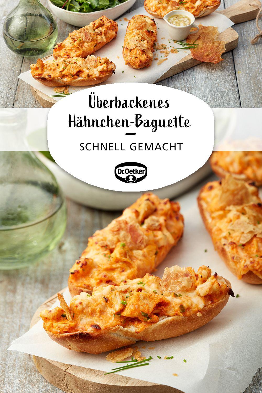 Überbackenes Hähnchen-Baguette