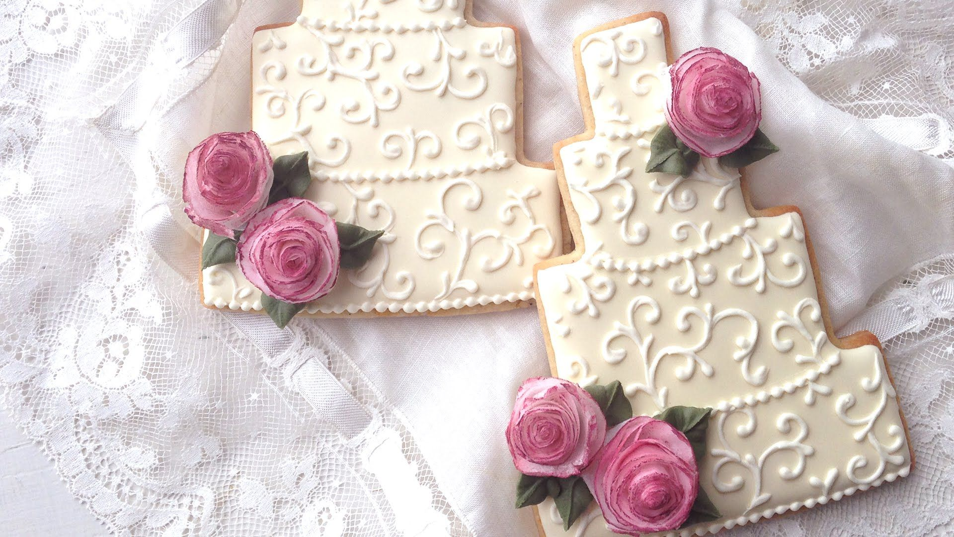 Wedding Cake Cookies With Edible Wafer Paper Roses