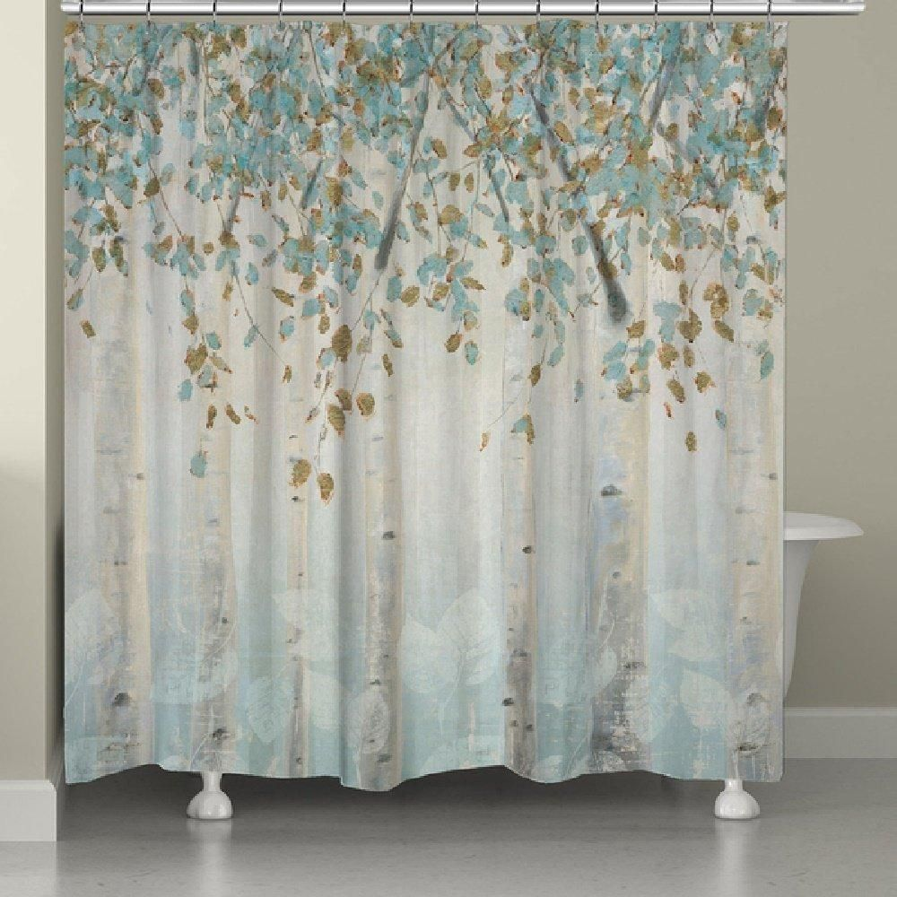 Nature Floral Themed Shower Curtain Colorful Pretty Forest Birch Trees Indie Inspired Hippy Spirit Gorgeous Digital Graphic Bathtub Curtain Blue Gold Laural Home Curtains Printed Shower Curtain