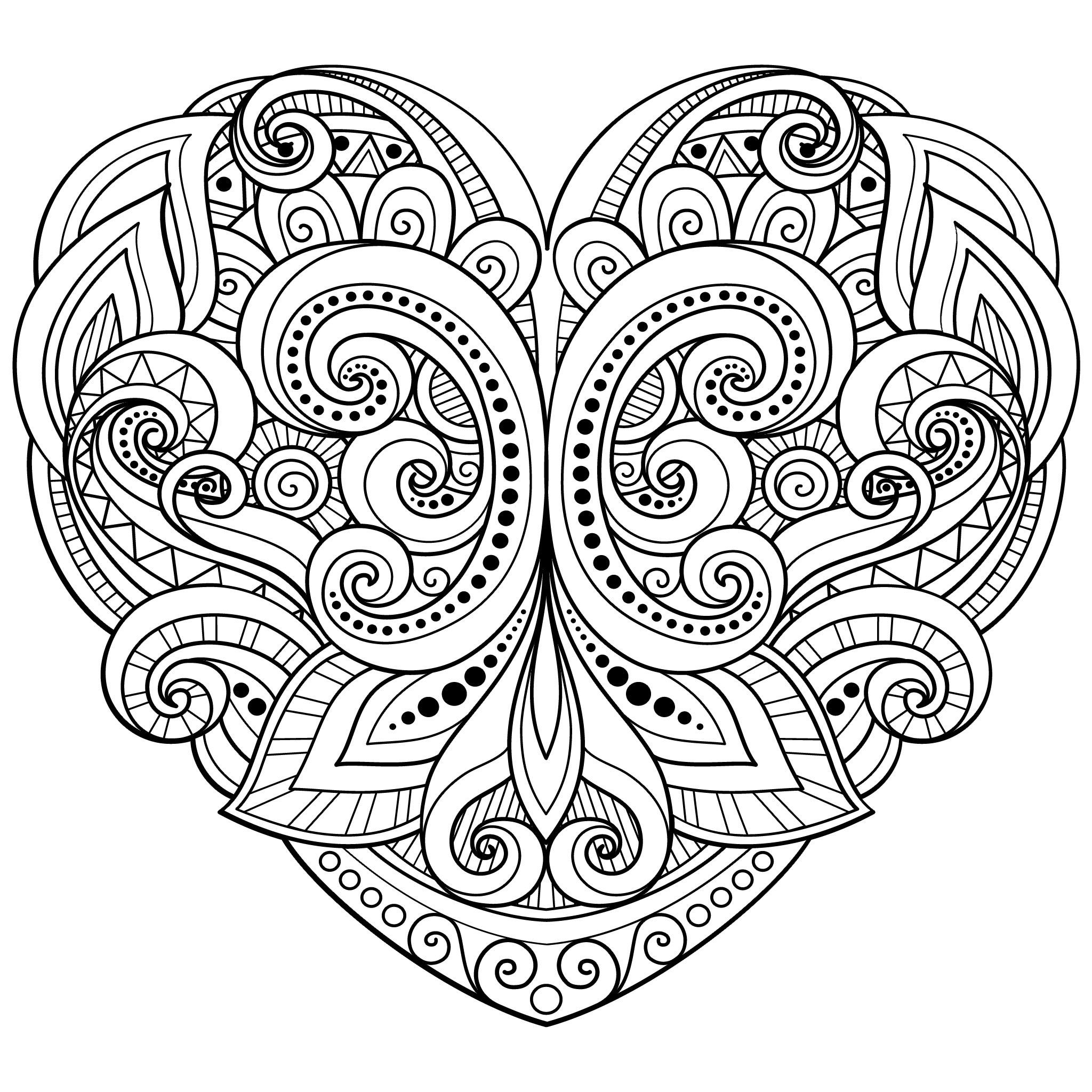 Heart Coloring Pages For Adults Heart Coloring Pages Love Coloring Pages Mandala Coloring Pages